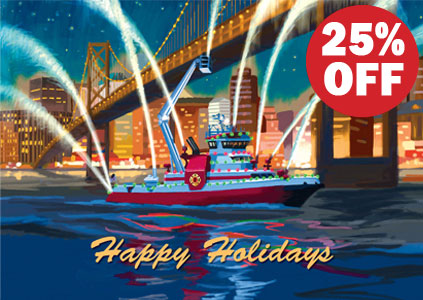 IAFF Fire Boat Holiday Card