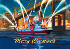 IAFF Merry Christmas Boat Holiday Card