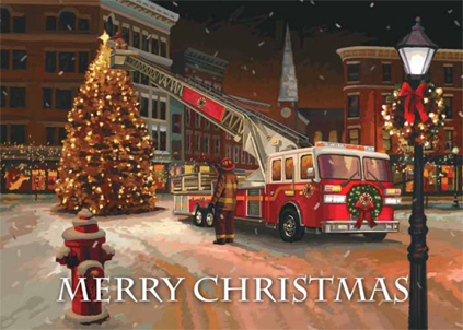 IAFF Holiday Cards - IAFF Fire Truck: Merry Christmas